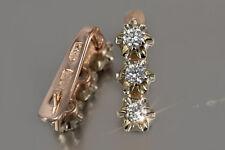 ved193 Russian rose Soviet USSR 14k gold Vintage Diamond earrings Unique!!!