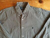 Ralph Lauren Blake Mens SZ L Long Sleeve Button Dn Shirt Cotton Brown Plaid B27