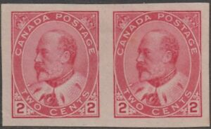 Stamps 1903 Canada 2c red Edward 7th imperforated pair SG177a no gum