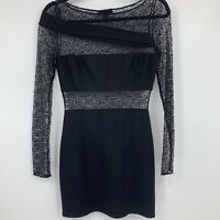 Hours Revolve dress small body con lace cutout bandage mini black fitted sexy