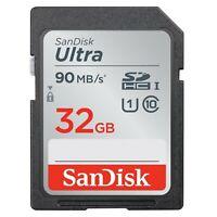 Sandisk 32GB SDHC SD Speicherkarte Class 10 Ultra UHS-I SD 90 MB/s für Kamera
