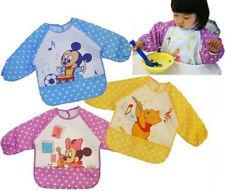 2*  Baby Kids Waterproof Feeding Bib Cartoon Apron Clothes Long Sleeve Top Cover