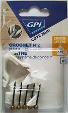 Lot 4 Crochets Plastique Blanc No2 Bois-Brique-Plâtre + Système de Coinceur  GPI