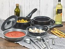9 Piece Ceramic Cookware Pans Pots Set with Detachable Handle and Lid Induction
