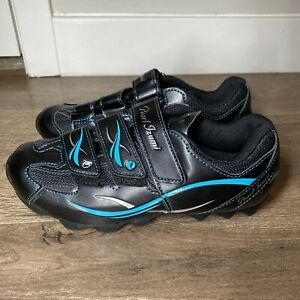 Pearl Izumi Womens Spin Cycling Shoes Cleats Black Teal Sz 7.5 EUR 38 All-Road