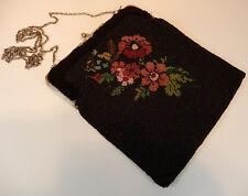 Perlentasche Tasche Metallbügel schwarz bunte Blumen um 1900 21cm x 19cm