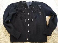 Classic Vintage Black Wool Cardigan Sweater Woman's Medium