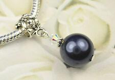 Night Blue Crystal Pearl Dangle Charm Bead European Style w Swarovski Elements