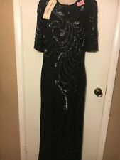 1/3 Sleeve Sequin Long Dress Prom Party Evening Gown Size Medium Black Hand sewn