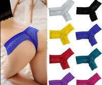 Women Sexy Briefs Lace V-string Panties Long Thongs G-string Underwear Lingerie