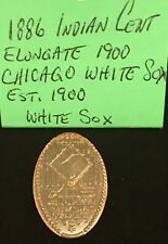 1886 INDIAN HEAD ONE CENT COIN CHICAGO WHITE SOX Est.1900 ELONGATED PENNY SOCKS!
