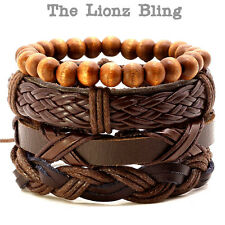 Urban Bohemian style Stacked Genuine Cafe Brown Leather &  Wood Bead Bracelets