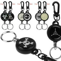 Heavy Duty Retractable Steel Reel Recoil Chain ID Holder Badge Key Ring Men Lady
