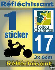 1 Sticker REFLECHISSANT département 17 rétro-réfléchissant immatriculation MOTO