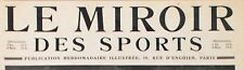 Le MIROIR des SPORTS Novembre 1920 // courses raquettes au CANADA ; LE MANS