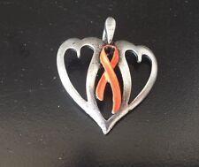 Leukemia or Appendix CANCER AWARENESS ORANGE RIBBON PEWTER PENDANT All New.