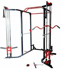 MEGA Power Rack Cable Cross Lat Attachment Low Row Chin Up Monker Bar FREE POST