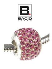 Genuine BACIO ITALY 925 sterling silver & pink CZ CRYSTAL BALL charm bead