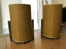Set of 2  Hardwire Sconces,  Brushed Nickel w Woven Grass Shades
