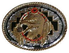Gürtelschnalle Buckle: Adler + Federn, USA Indianer Biker Cowboy Reiter Western