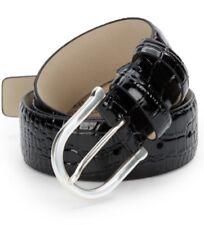 Hickey Freeman Crocodile-Embossed Genuine Leather Black Belt Size 32 / 80