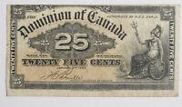 1900 Dominion of  Canada DC-15B 25 cents Paper money F-VF