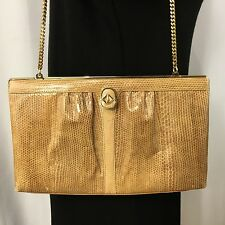 Koret Chain Shoulder Strap Faux Snakeskin Embossed Leather Vintage Handbag