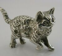 CAST ENGLISH SOLID SILVER MINIATURE CAT KITTEN ANIMAL FIGURE LONDON 1978