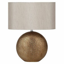 Sabina Bronze/Gold Ceramic Table Lamp with Taupe Oval Shade H: 41cm