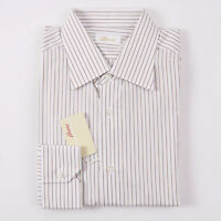 NWT $495 BRIONI White-Brown-Tan Stripe Dress Shirt 15.75 x 35 Spread Collar