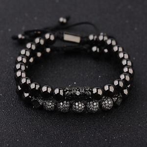 Luxury Micro Pave CZ Ball Gold Crown Braided Bracelets Mens Jewelry Copper Bead