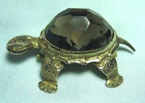 "Gold Over Test Silver Turtle Pin w Smoky Quartz 9.3 grams 1 1/2"""
