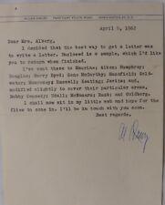 Allen Drury signed letter,April 8, 1962