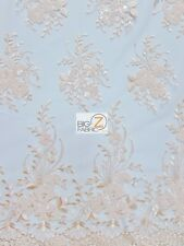 INFAMOUS FLORAL SEQUINS LACE DRESS FABRIC - Beige -  PROM GOWN BRIDAL EVENTS