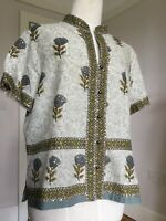 EAST Stunning Block Print Tunic Top Shirt Floral Sequin Detail Size 16
