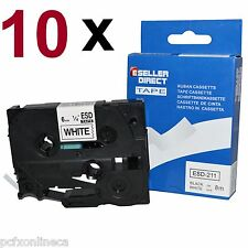 10x Orig. Eseller Black on White 6mm Label Tape Compatible for Brother TZ211