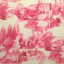 CLARKE & CLARKE Anastacia raspberry printed cotton linen toile new remnant