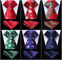 Christmas Santa Claus Men Ties 100% Silk Woven Necktie Pocket Square Set Gift