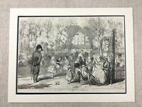 1855 Antik Original Aufdruck Tuileries Garten Paris Frankreich