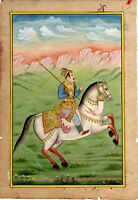 Mughal Emperor on Horse with weapons Gouache-color Miniature Art painting