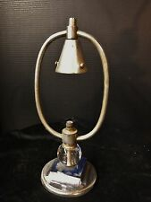 Antique Art Deco Chrome & Blue Glass Table lamp Project or parts Machine Age ind