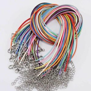 10pcs/lot 1.5mm/2mm Waxed Cotton Cord Necklace with Lobster Clasp 45cm+5cm