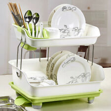 Plastic Dish Drainer Double Drip Tray 2 Layer Rack Utensil Cutlery Draining Rack