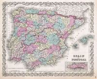 MAP ANTIQUE COLTON 1855 SPAIN PORTUGAL OLD LARGE REPLICA POSTER PRINT PAM0833