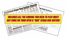 """Essential Cigar Box Guitar Chords for Open G """"GDG"""" - Color 12x18 inch Poster"""