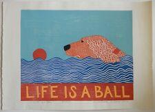 "STEPHEN HUNECK  - SIGNED WOODCUT PRINT - ""LIFE IS A BALL"" - Golden Retriever"