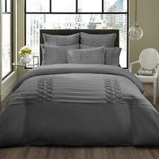 Beautiful Modern Elegant Grey Ruffle Ruched Texture Soft Duvet Cover Set New!
