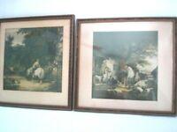 "William Shayer Prints Antique 1900-1920 Set of 2 Framed Matted 11 x 12"" Inn"