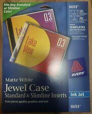 Avery Inkjet Cddvd Std Amp Slim Jewel Case Inserts Matte White 20pack 8693