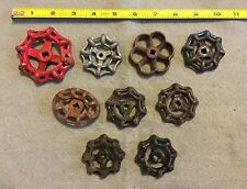 Lot Of 9 Vintage Heavy Metal Water Faucet Handles Knobs Valves Steampunk Lot #31